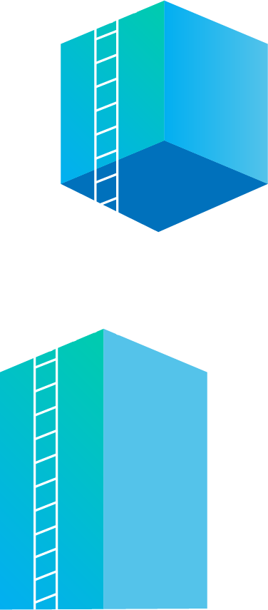 Tall blocks with ladders on them reaching into the clouds